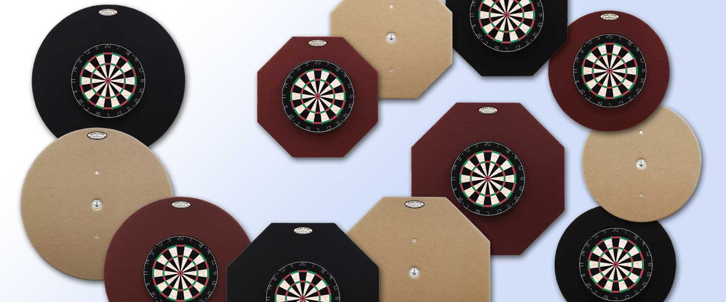Dart-Stop Dartboard Backboards: 2 Sizes, 2 Shapes and 3 Colors